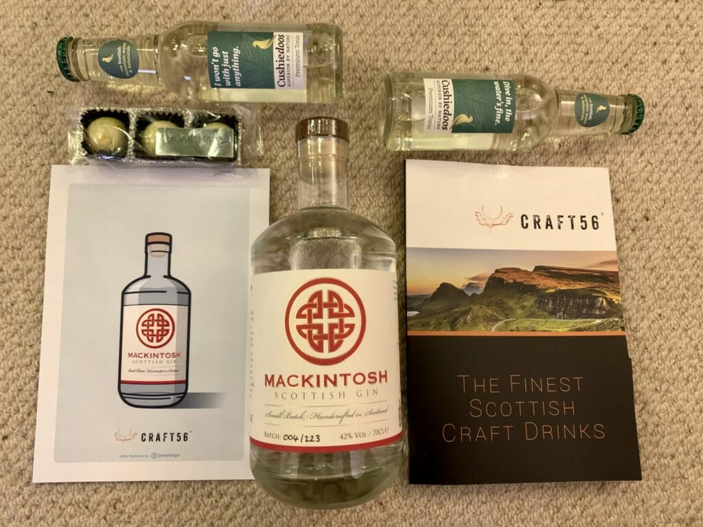 The December Craft 56 gin club box with Mackintosh gin
