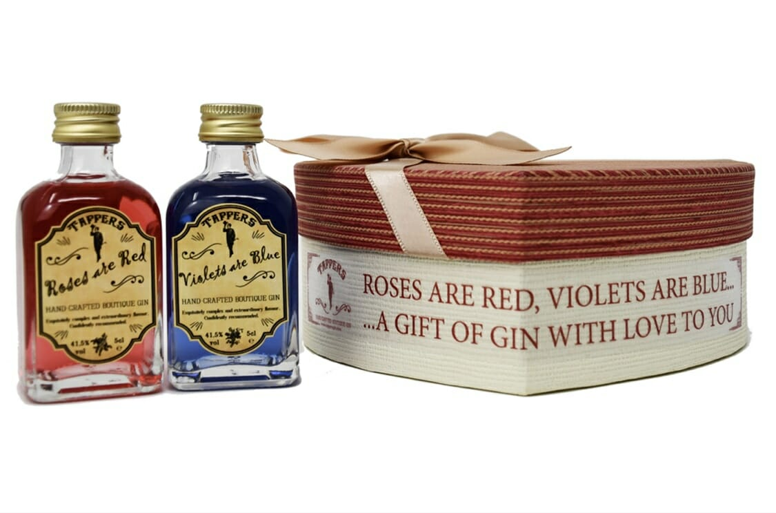 Roses are Red, Violets are Blue gin miniatures and gift box