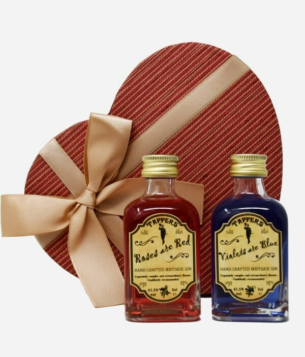 Tappers gin Roses are Red, Violets are Blue Valentine's gift set