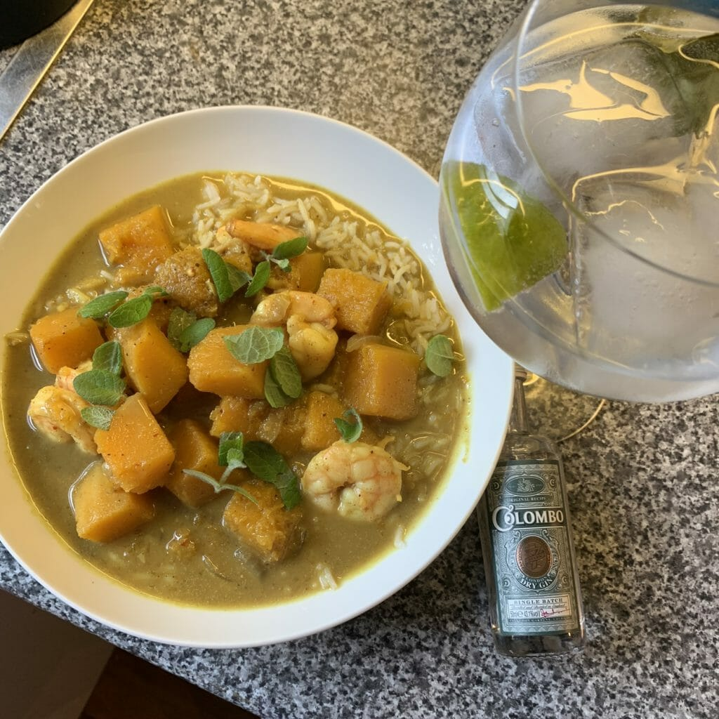 Curry using the king prawns from Oystermen