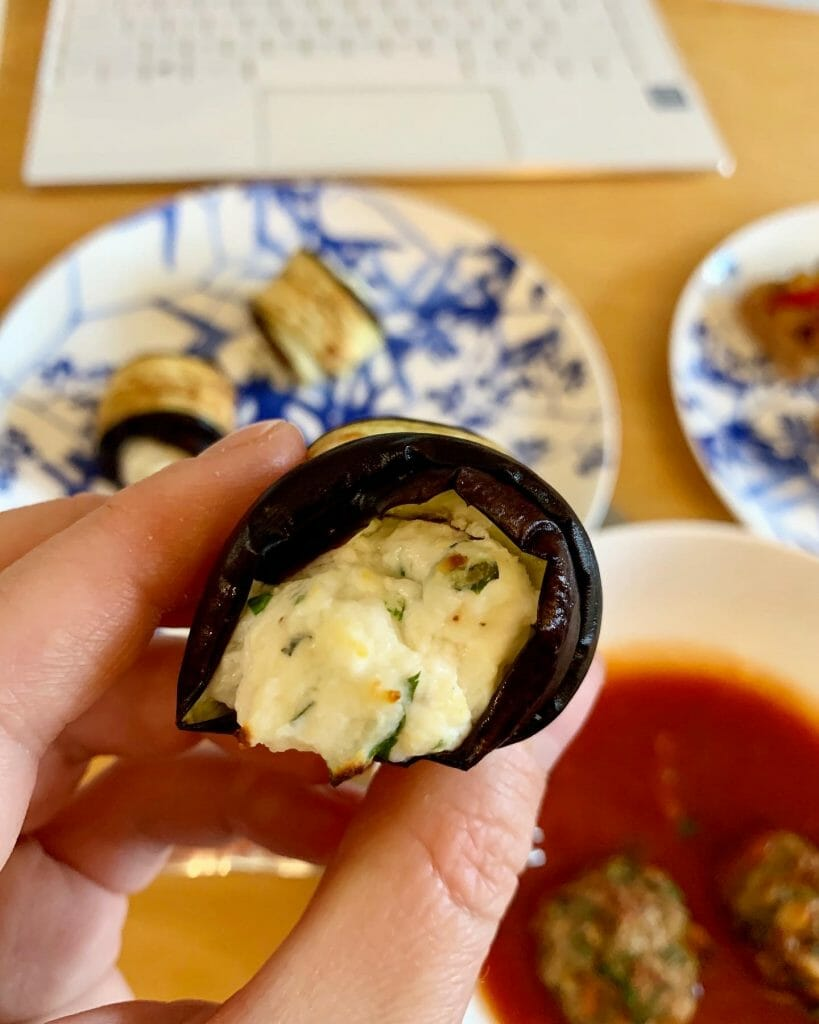 Close up of the aubergine roll