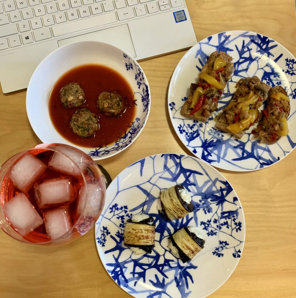 Aperitivo selection from the virtual cooking class with the Tiny Italian