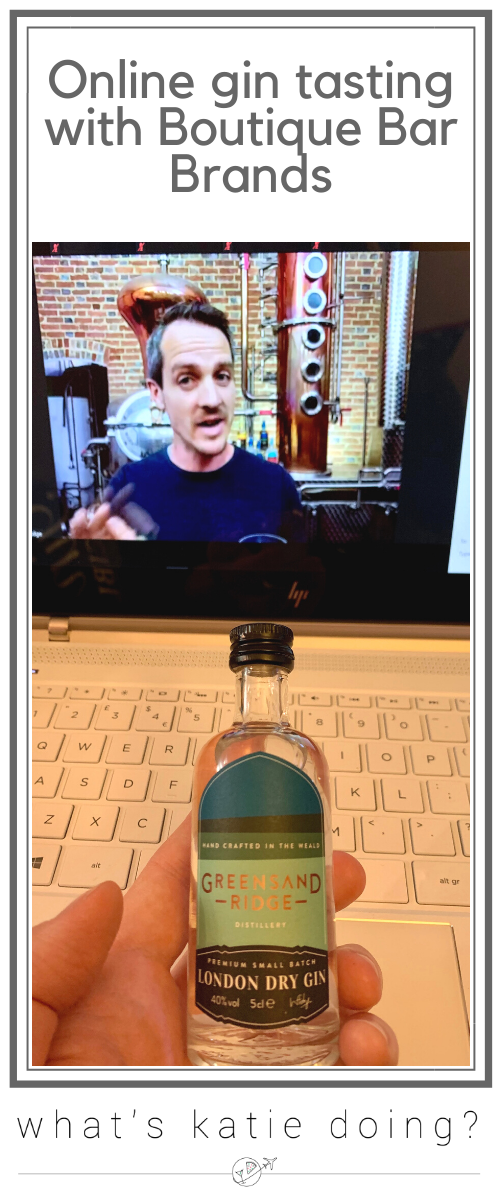 Online gin tasting of Greensands Ridge gin with Boutique Bar Brands