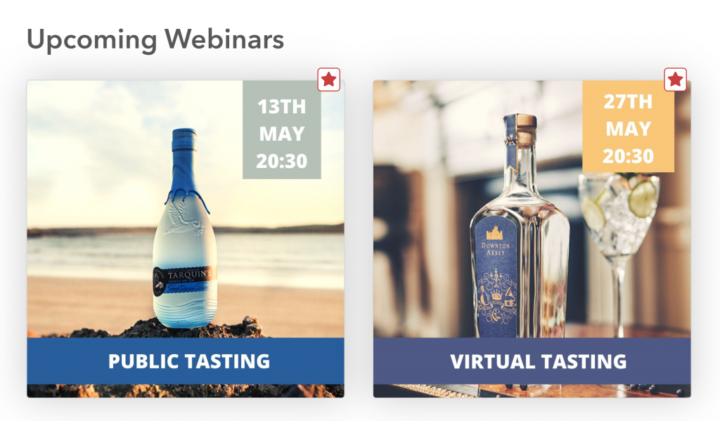 Upcoming webinars with the gin bottles for each brand