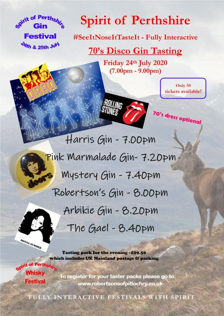 Spirit of Perthshire 70's disco gin tasting 24th July 20