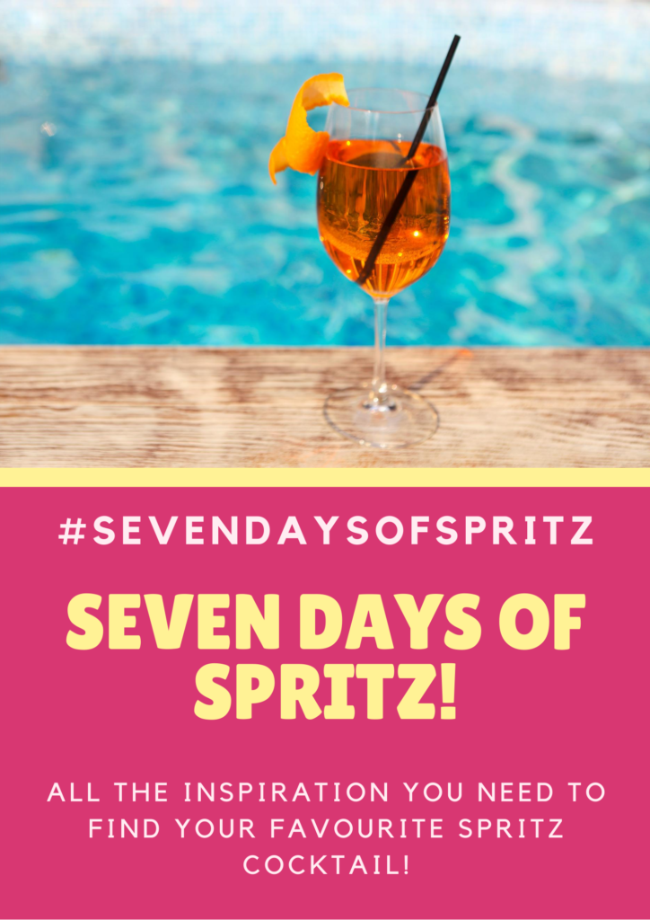 Seven Days of Spritz poster with glass in front of pool
