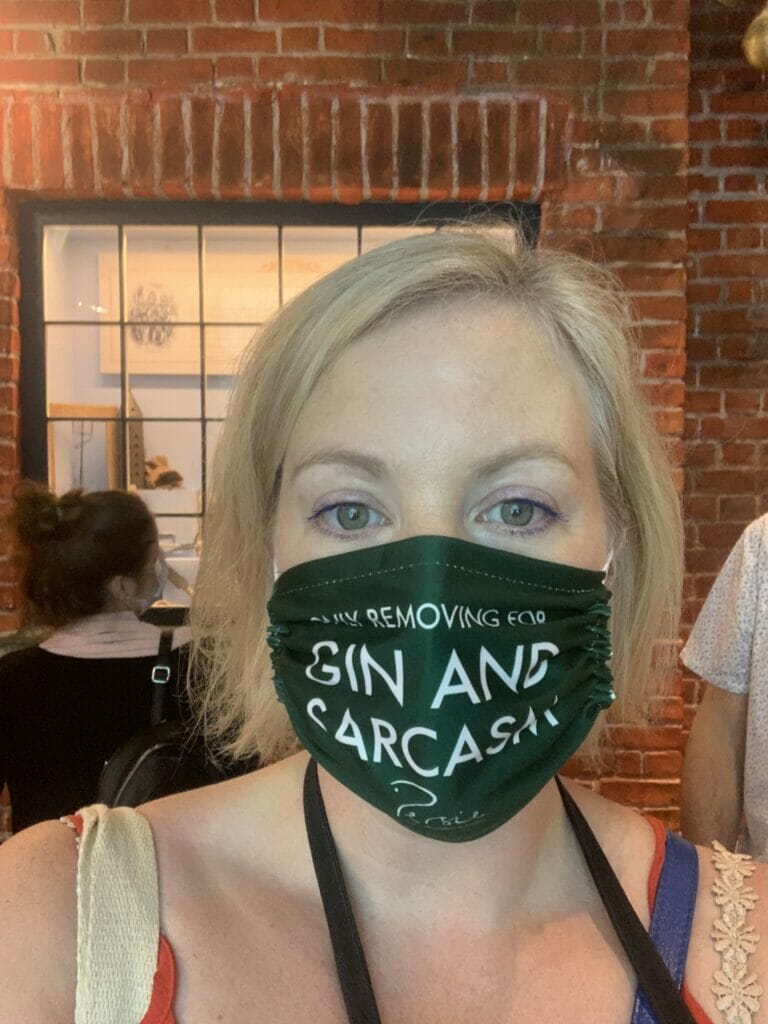 Only removing mask for gin and sarcasm!