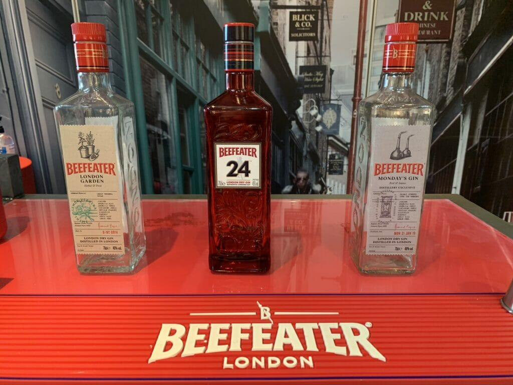 Beefeater gin bottles lined up