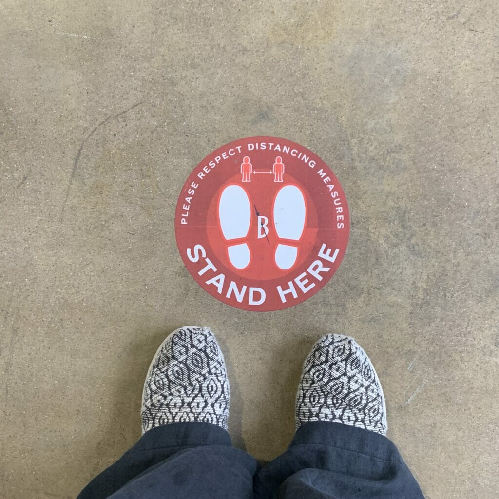 Floor marking - stand here to social distance
