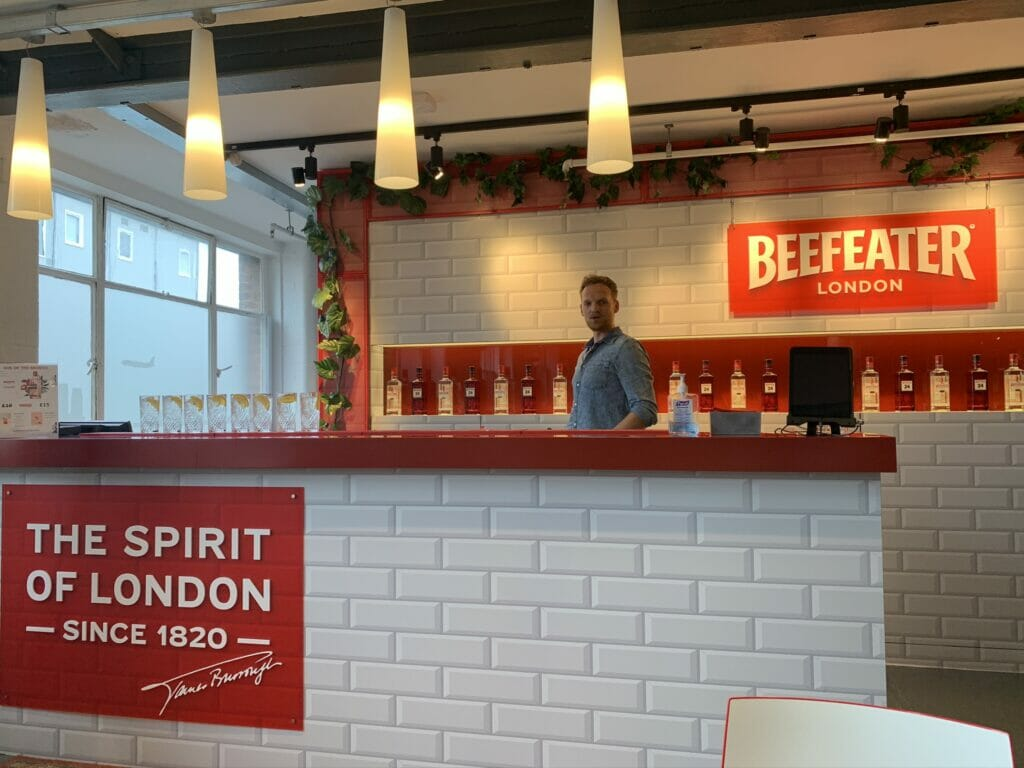 The bar at Beefeater distillery