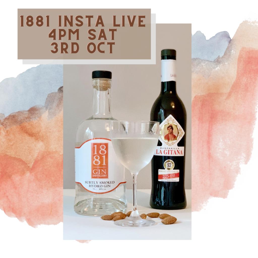 1881 Distillery Instagram live Saturday 3rd October 4pm