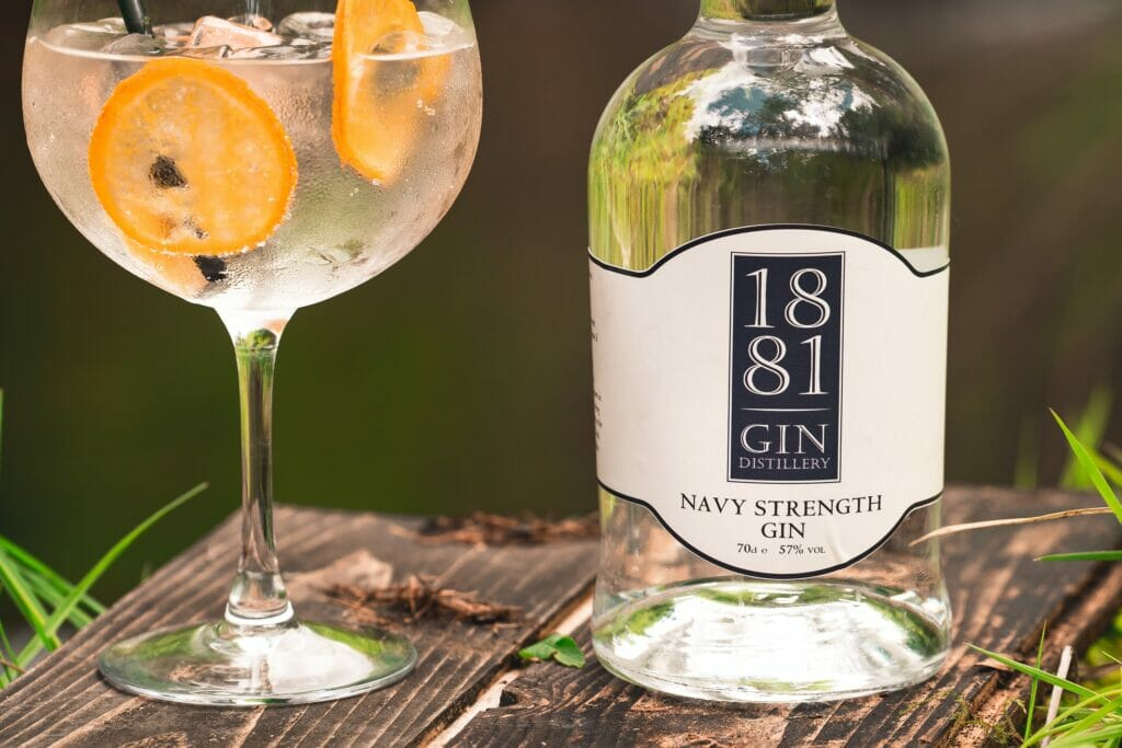 1881 Navy Strength Hydro gin bottle and perfect serve outside