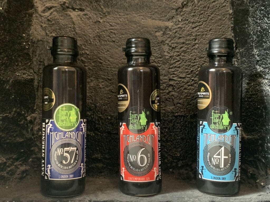 The three Highland gins from Fairytale distillery that I tasted