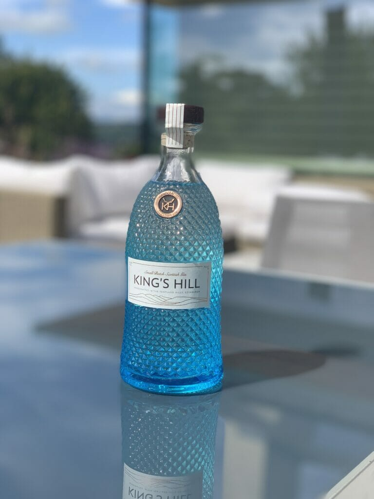King's Hill gin bottle outside on a table