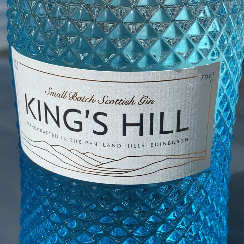 Close up of the King's Hill gin bottle label