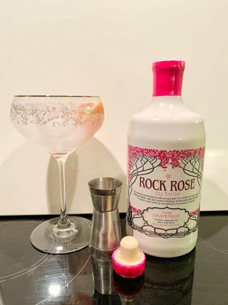 Gin and tonic in the Rock Rose glass