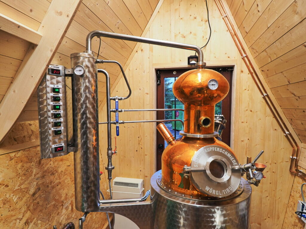 Close up of the copper still