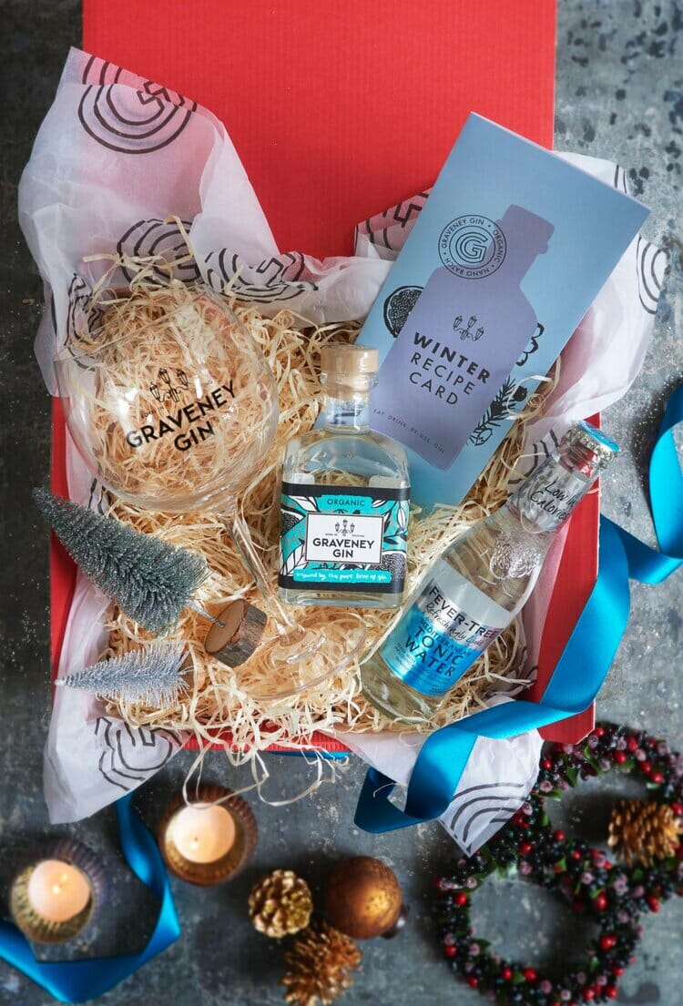 Graveney medium gin hamper with branded glass and matching tonic