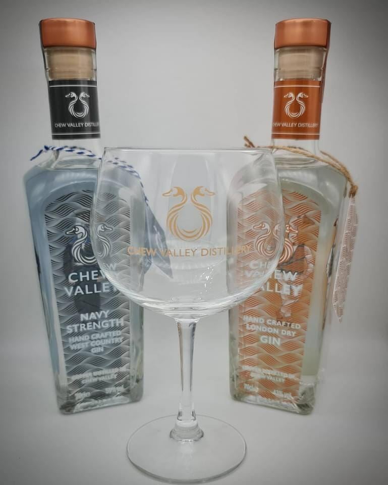 Chew Valley London Dry and Navy gin with the branded Copa glass