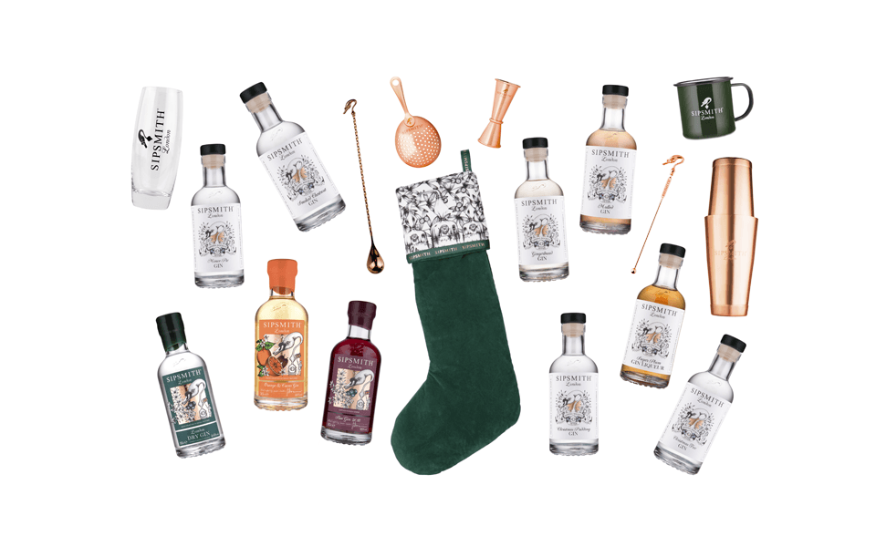 Sipsmith build your own stocking with a selection of the items you can stuff it with