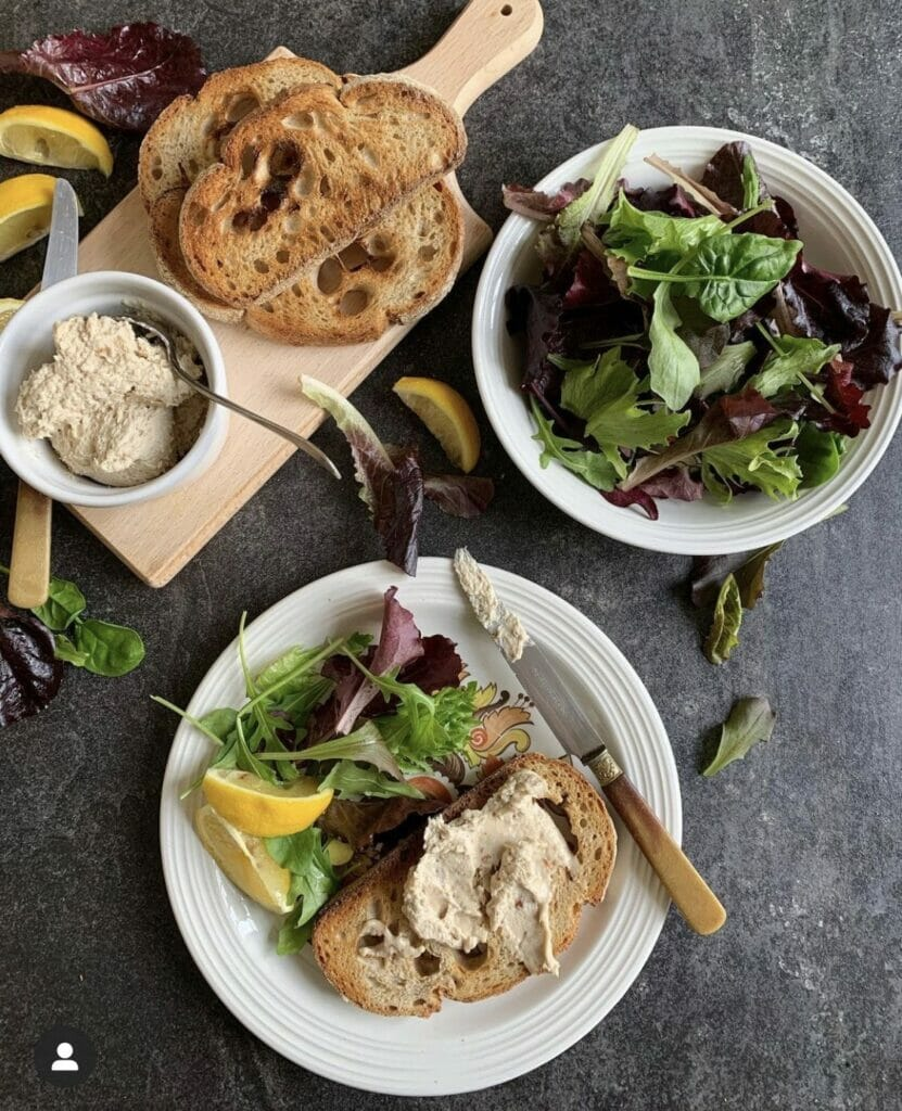 Pate on sourdough toast with mixed leafs