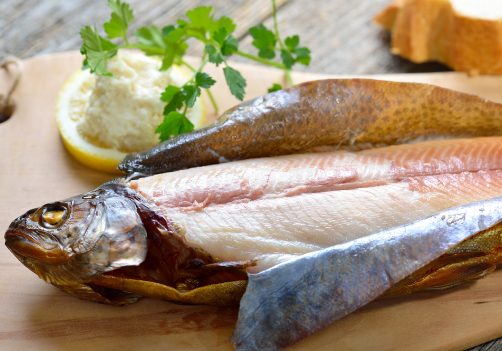 Smoked trout with skin peeled back