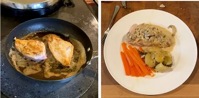 Pan fried chicken and plate of cooked chicken with veggies and sauce