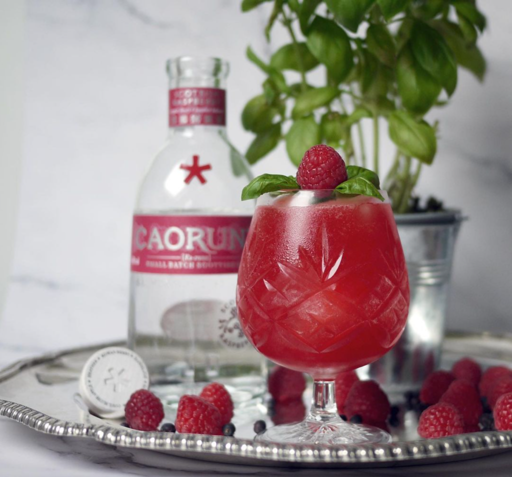 Pink cocktail with basil and Caorunn Raspberry gin