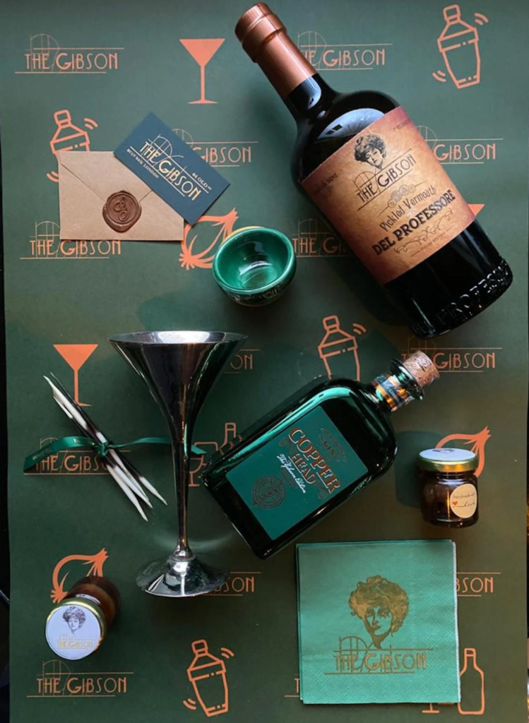 Gibson Bar - DIY Gibson Martini bundle on green Gibson branded backdrop