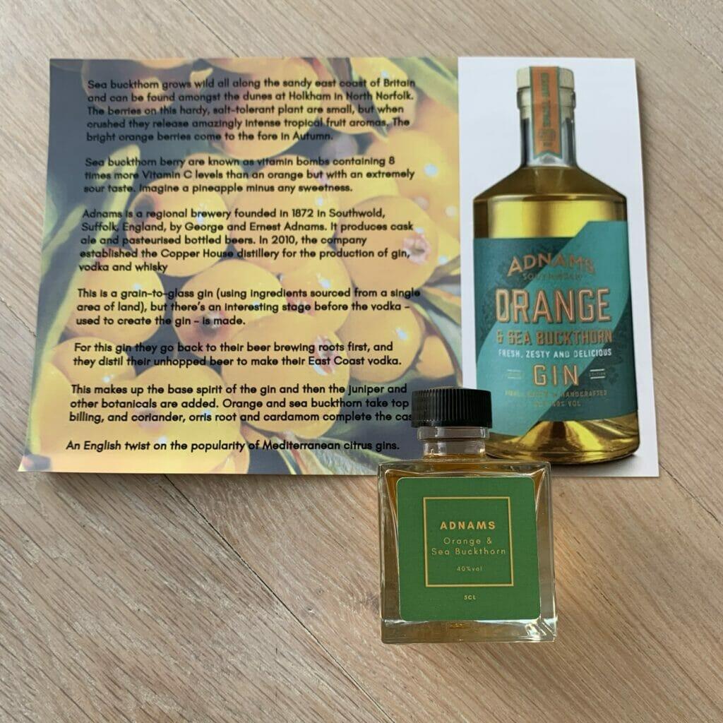 Adnams Orange & Sea Buckthorn gin & fact card