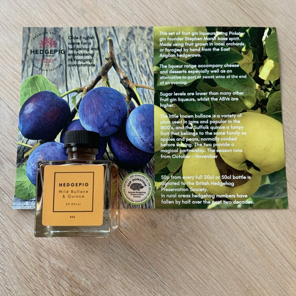 Hedgepig Wild Bullace & Quince gin & fact card