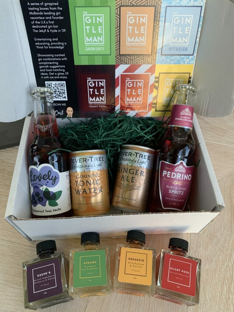 Inside the Gintleman gin selection box, gins, mixers and food pairing cards