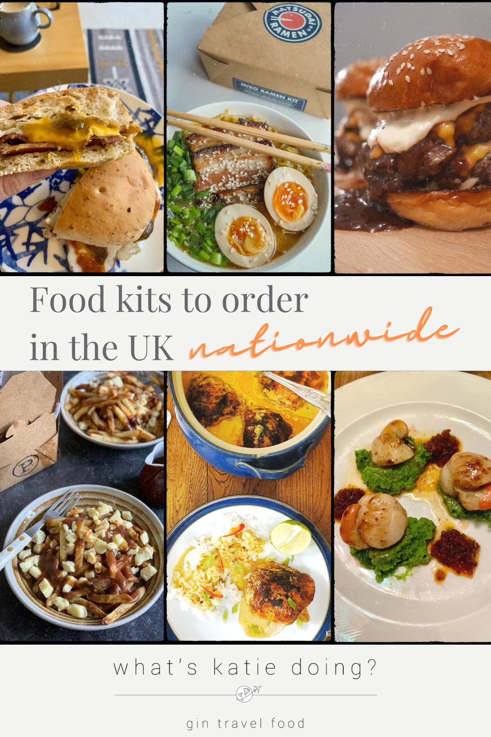 6 different dishes from food kits: bacon sandwich, burger, poutine, ramen, Vietnamese and scallops