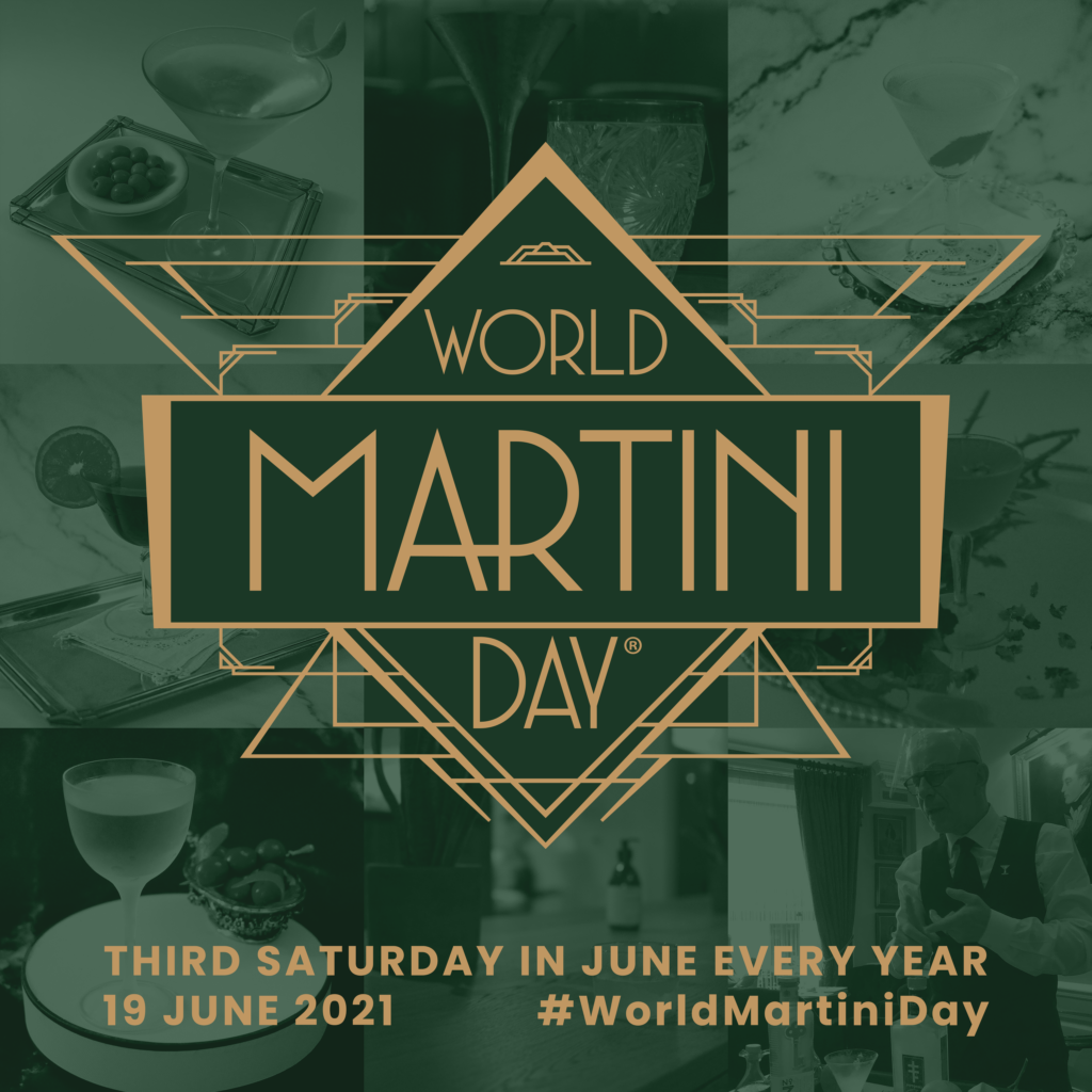 World Martini Day logo in gold on top of green tinted martini pictures