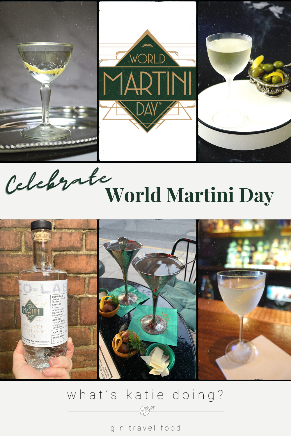 selection of 4 martini pictures, world martini day gin bottle and the world martini day logo